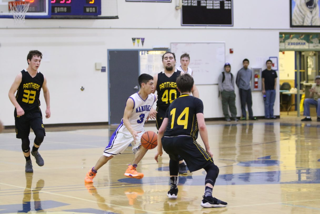 The Nanooks varsity boys' basketball team plays Glennallen in Nome (Photo: Janeen Sullivan, used with permission)