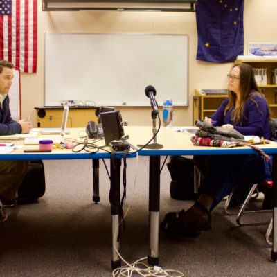 Superintendent Shawn Arnold and board members Sandy Martinson and Nancy Mendenhall at a Nome Public Schools Board of Education work session. (Photo: Gabe Colombo, KNOM)