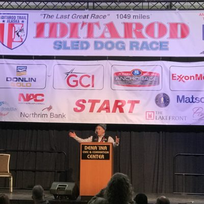Nome's Mayor Richard Beneville gives a speech at 46th annual Iditarod starting banquet in Anchorage. Photo Credit: Davis Hovey, KNOM (2018)