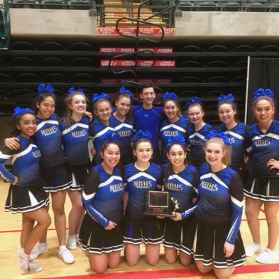 The Nome-Beltz Nanooks cheer team with their first-place trophy for the large division, 2018 (Photo courtesy of Elizabeth Coler, used with permission)