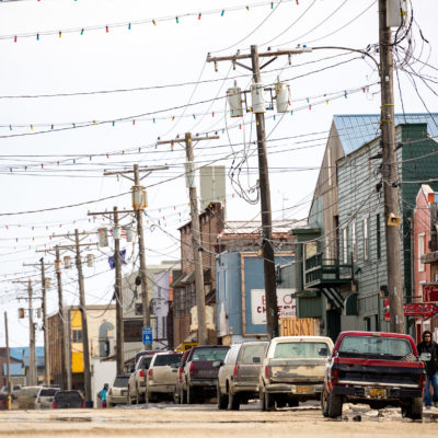 A telephoto view of Nome's Front Street on a cloudy afternoon.