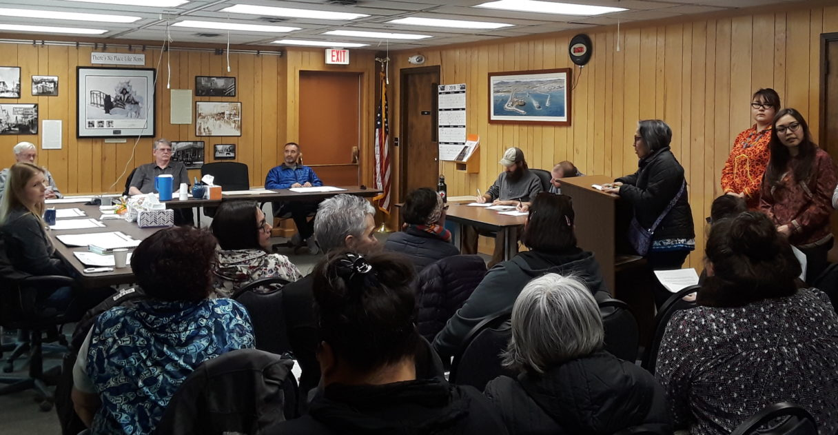 Concerned citizens of Nome present their proposed resolution to the City Council regarding justice for Alaska Native victims of sexual assault and other violent crimes. Photo Credit: Davis Hovey, KNOM (2018)