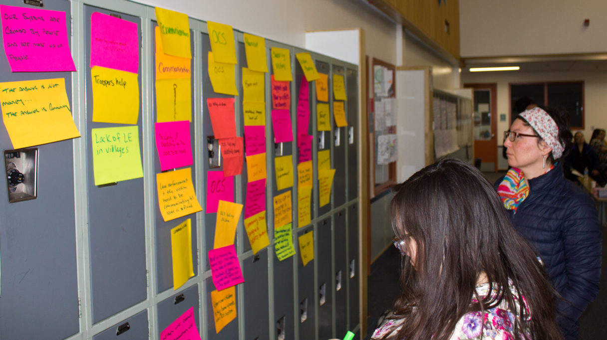 Panganga Pungowiyi/(Pangaanga Pangawyi) and Lisa Ellanna from Kawerak review the post-it notes full of suggested changes related to sexual assault and domestic violence. Photo Credit: Davis Hovey, KNOM (2018)
