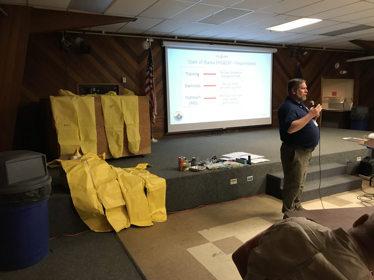 One presentation during the DHS&EM workshop at the Nome Mini Convention Center. Photo Credit: Zoe Grueskin, KNOM (2018)