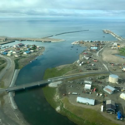 Aerial view of Nome harbor and port area and the mouth of the Snake River.