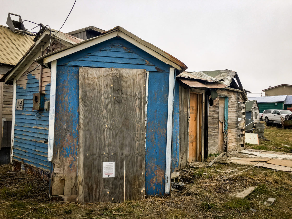 A dilapidated structure in downtown Nome, believed to have once been the home of Leonhard Seppala.