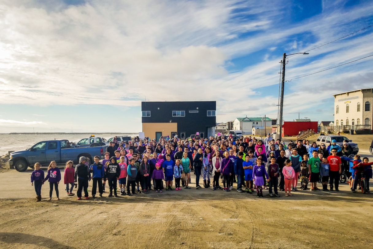 Outside gathering of Nome residents on a summer day.