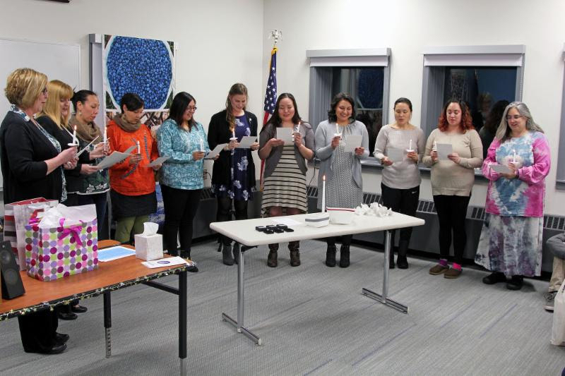 On Dec. 12th, three nurse graduates were honored at UAF Northwest Campus for completing the nursing program and are set to serve Norton Sound region. Photo provided by Reba Lean, NSHC (2018).