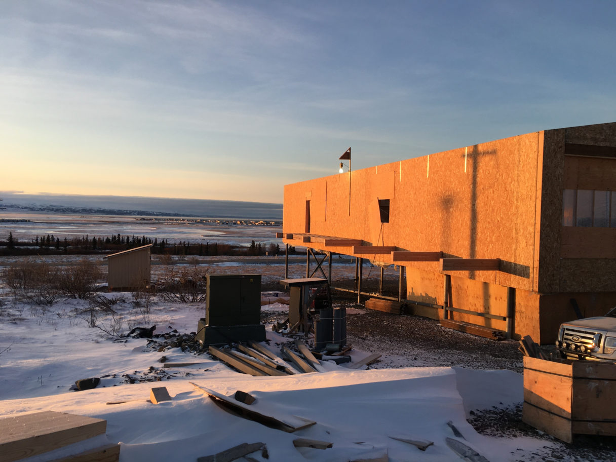 New building under construction in Unalakleet to offer assisted living services to elders throughout the region. Photo provided by The Rasmuson Foundation (2018)