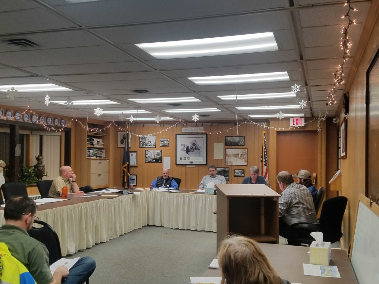 Interior of city council chambers during a meeting
