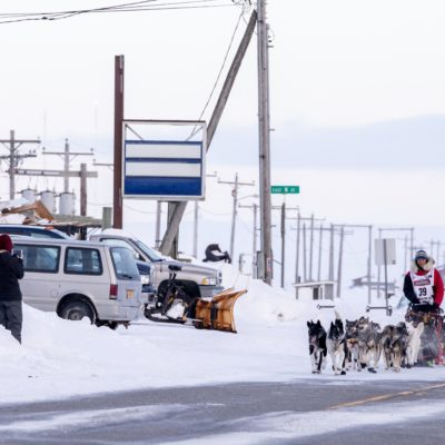 Iditarod musher on Nome's Front Street