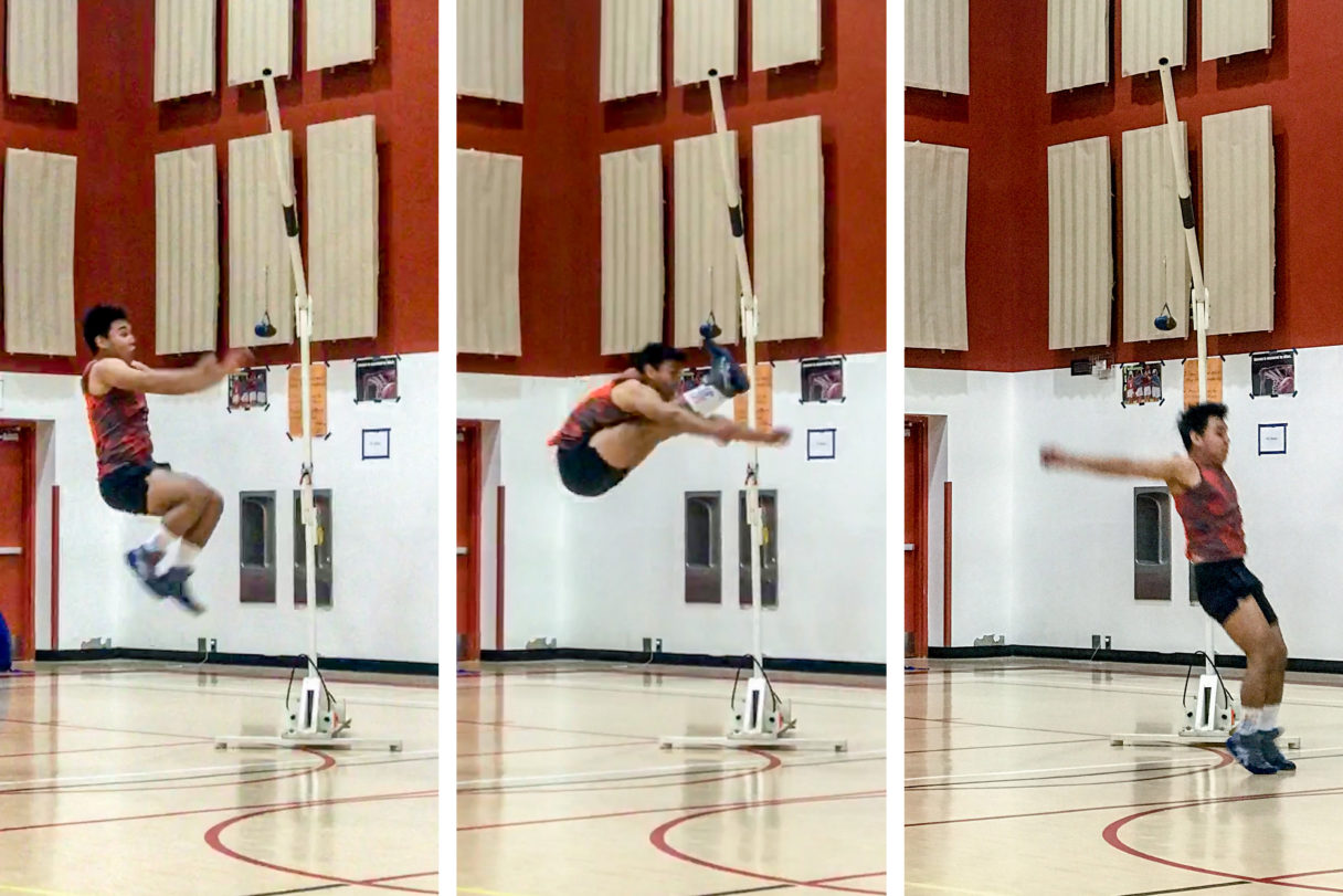 Native Youth Olympics high-kicker, seen in a three-image series successfully kicking a suspended beanbag in a high school gymnasium.