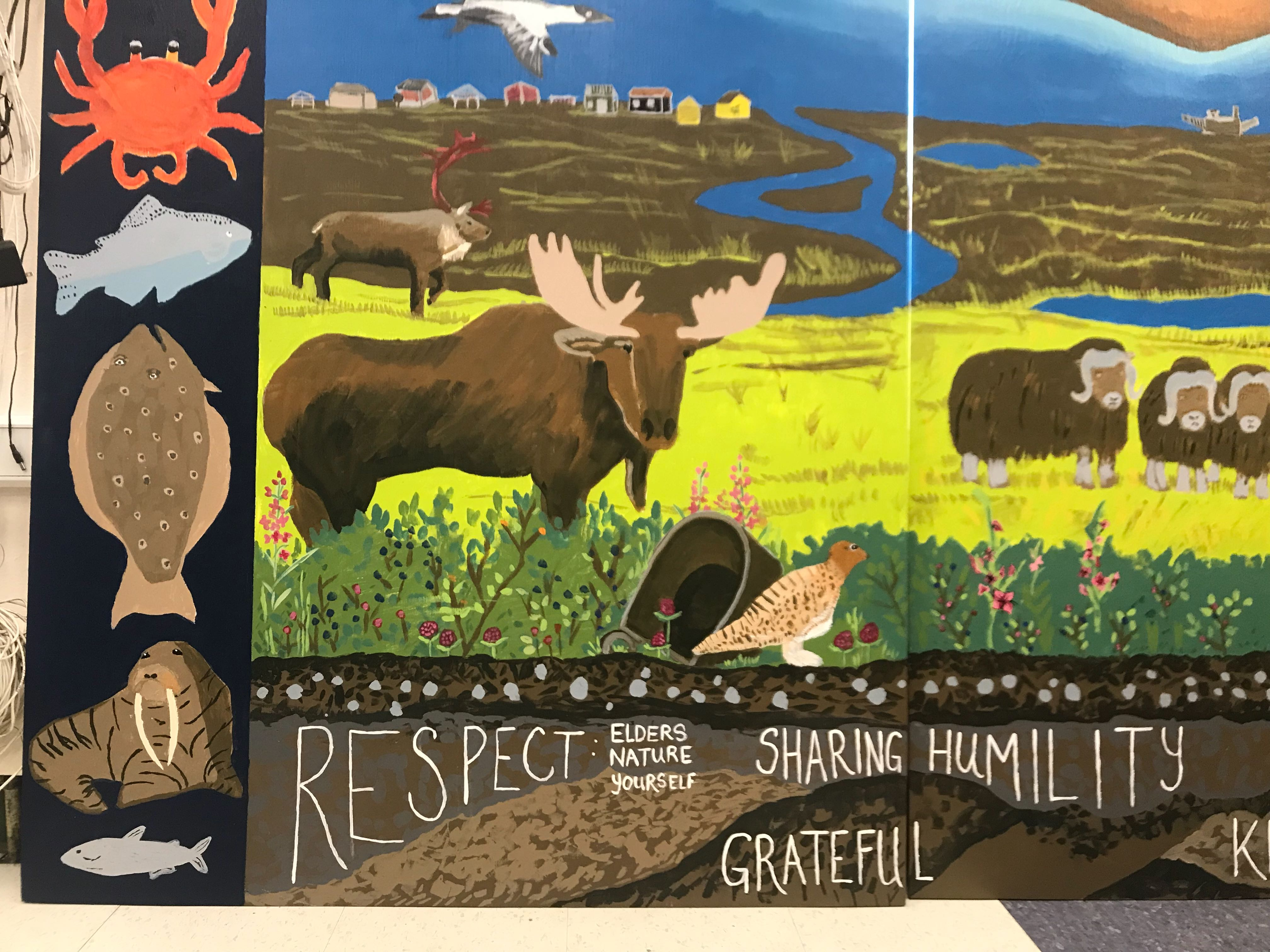 With Visiting Artist at Their Side, Nome Students Paint Mural Inspired by Their Hometown
