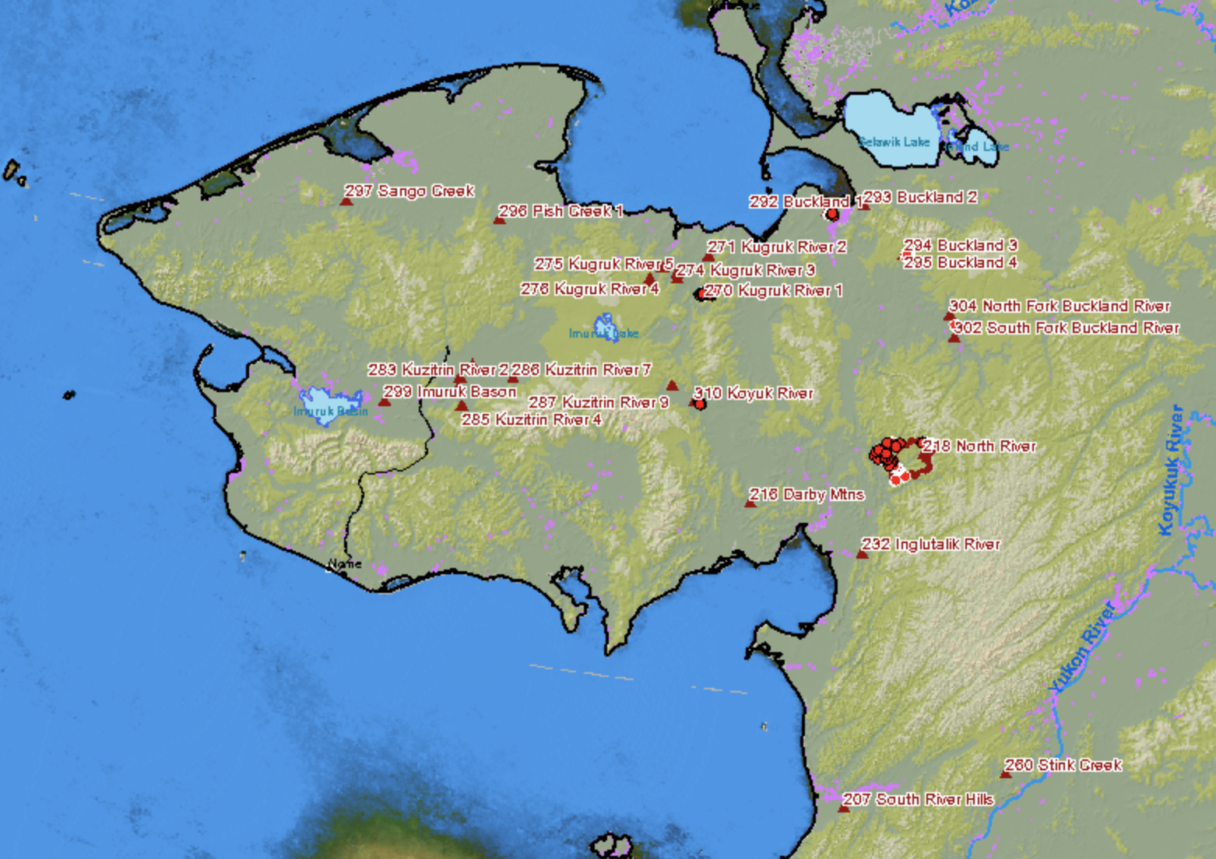 Digital map with red dots marking wildfires on Alaska's Seward Peninsula.