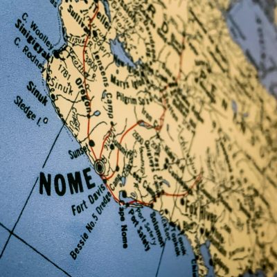 Close-up of Nome and Bering Strait region on a color map of Alaska