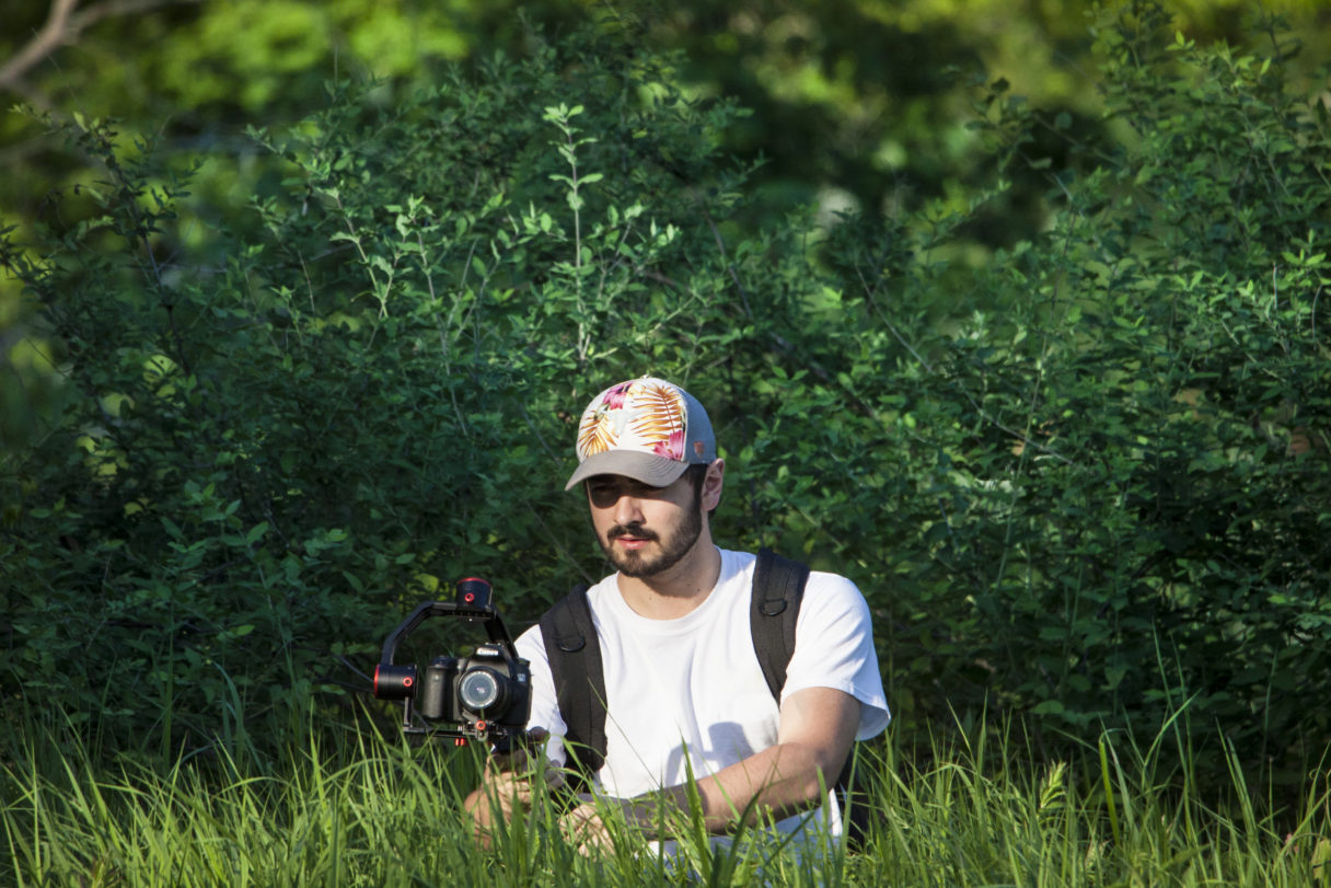 Man standing amid vibrantly green, tall grass holds gimbal with digital camera attached