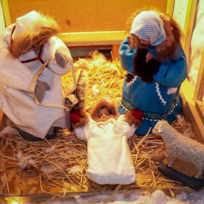 A close-up picture of the Nativity set at St. Joseph Church in Nome.