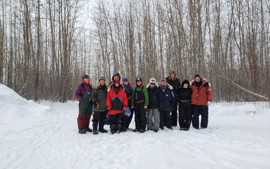 The original 13 that set out from Nenana to Nome on February 22nd, 2020 for the Serum Run Expedition. Photo from Davis Hovey, KNOM (2020).